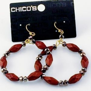 CHICOS EARRINGS GRAY SILVER BROWN BOHO NEW
